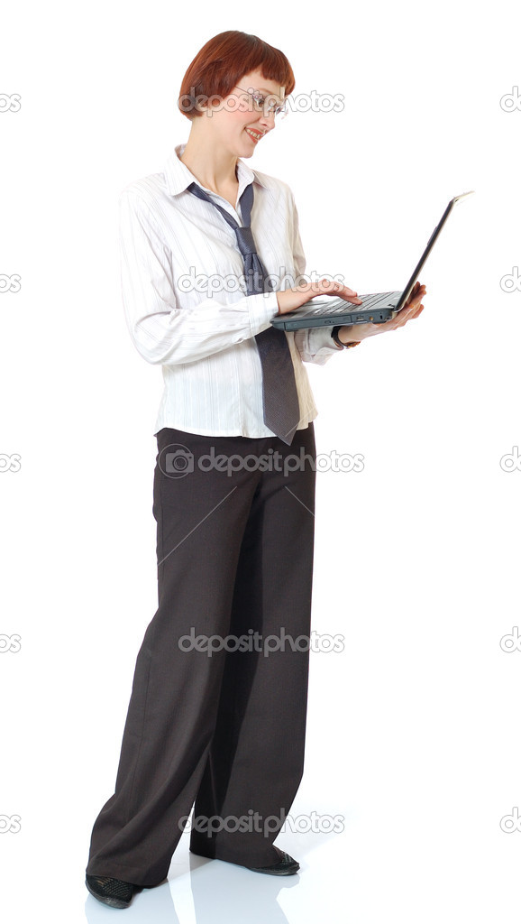 Beautiful smiling secretary standing with the laptop. — Stock Photo #1838665