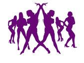 Tanec sexy dívek na silvestra — Stock fotografie