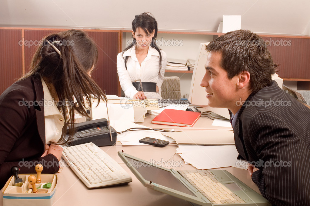 Business work with documents in the meeting office — Stock Photo #1784230