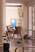 Shot of hotel interior with lobby design — Stock Photo