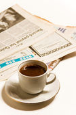 Newspapers and coffe — Stock Photo