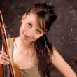 Girl with violin — Foto Stock