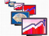 Business monitors 01 — Stock Photo