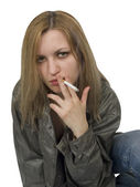 Smoking girl — Stock Photo