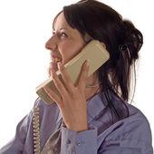 Teléfono y mujer de negocios — Foto de Stock