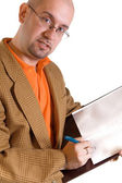 Businessman and notes — Stock Photo