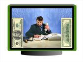 Business money monitor — Stock Photo
