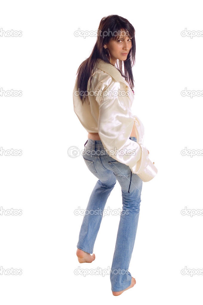 Young brunette woman posing  on white backgrounds — Stock Photo #1916899