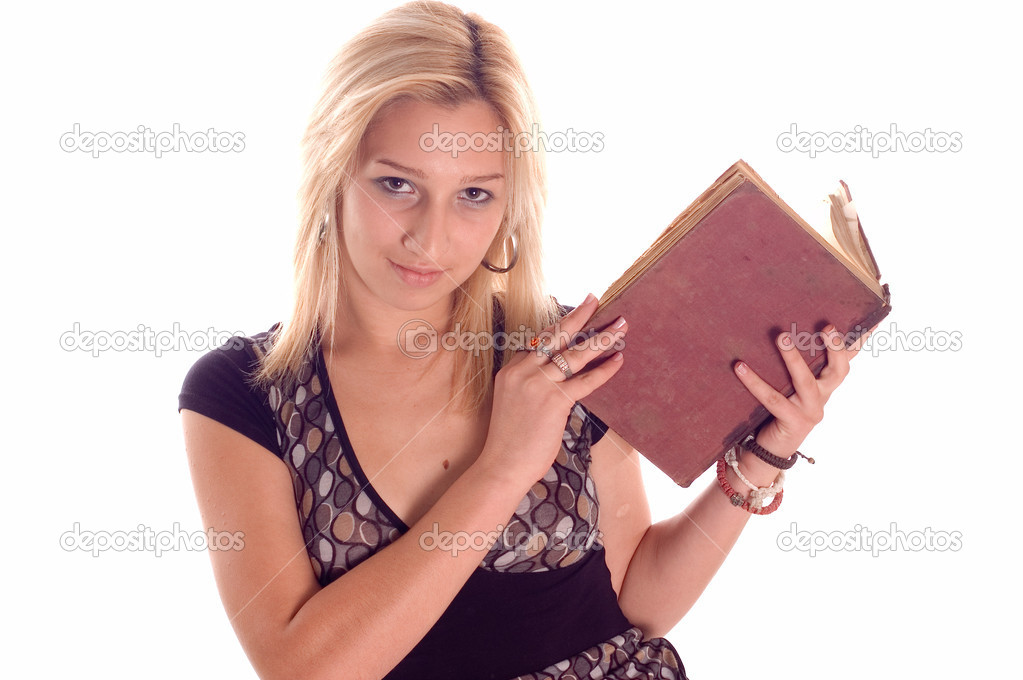Young student girl with books on white backgrounds  Stock Photo #1922458