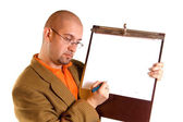 бизнесмен и примечания — Стоковое фото