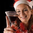 Santa Girl drinking — Foto de Stock