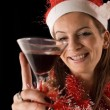 Santa Girl drinking — Stockfoto