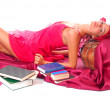Leisure woman with books — Stock Photo
