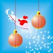Two red christmas ball — Stockfoto