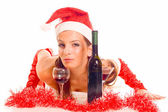 Santa Girl with drink — Stock Photo