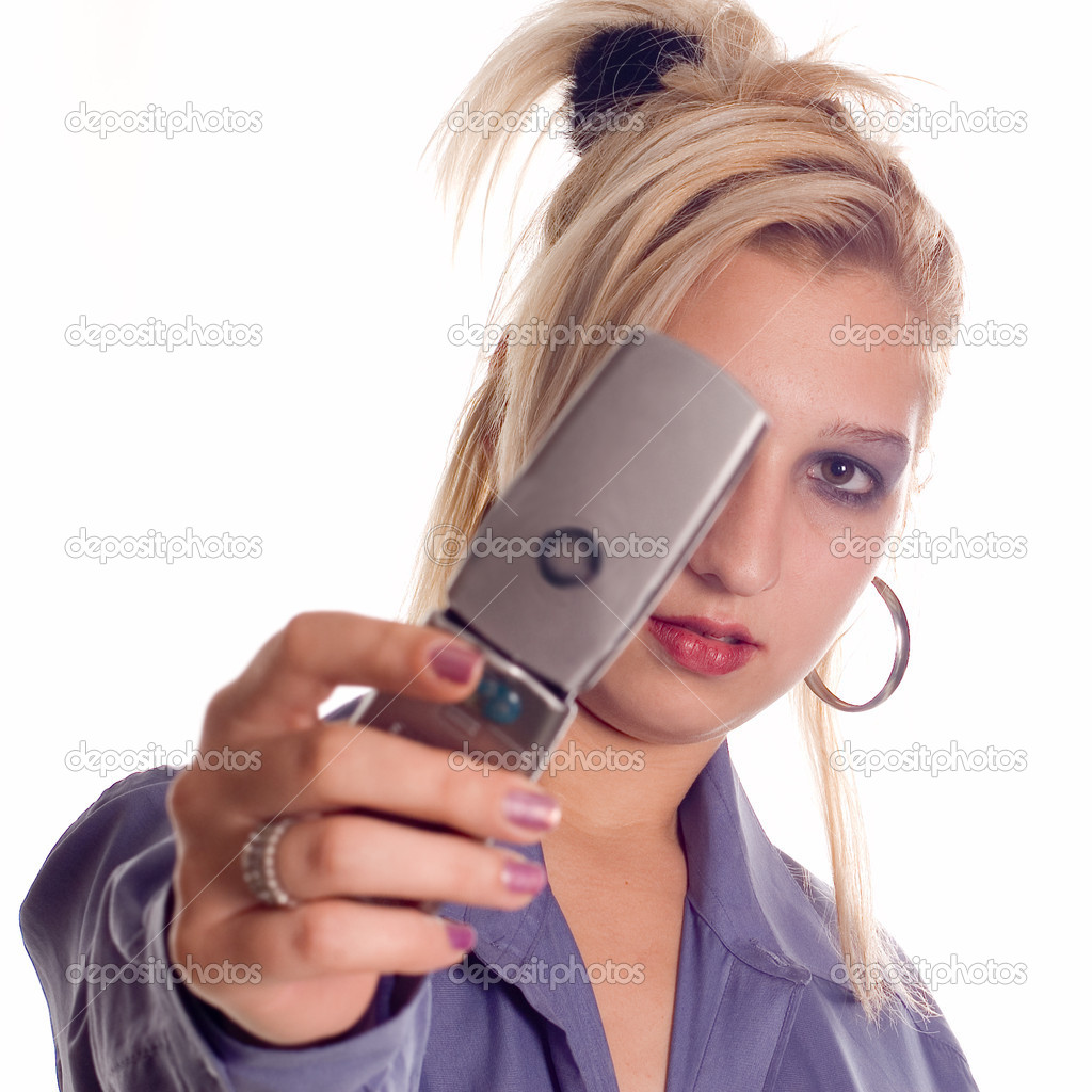 Woman making a taking picture with mobile camera — Stock Photo #1965144
