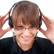 Stock Photo: Listening music