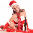 Santa Girl with drink — Stock Photo #2255014