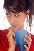 Dívka pití šťávy — Stock fotografie