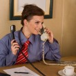 Stock Photo: Businesswomcall at office