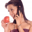 Woman eating a apple — Stock Photo