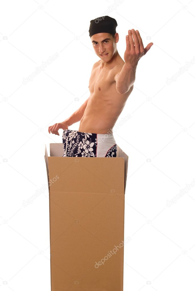 Young naked man in carton with kerchief around head — Stock Photo #2290409