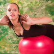 Royalty-Free Stock Photo: Exercise ball rollout
