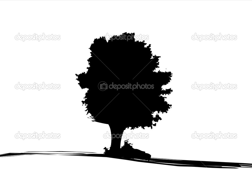 Silhouette of oak tree in autumn — Stock Photo #2331074