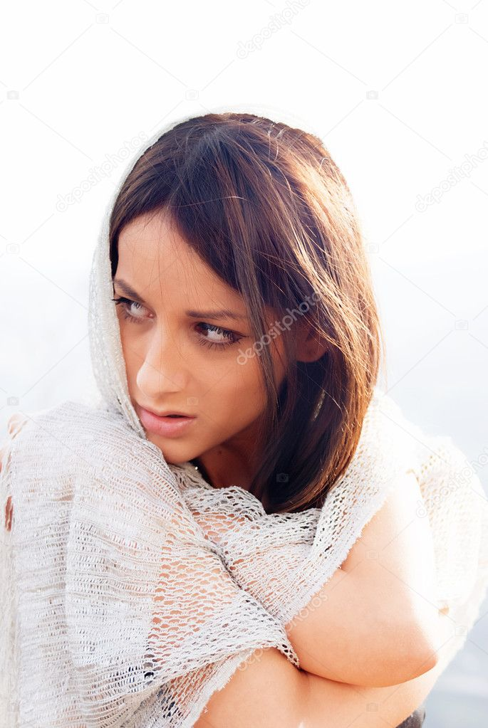 Portrait of a young sensual fashion woman with showl     — Stock Photo #2341772