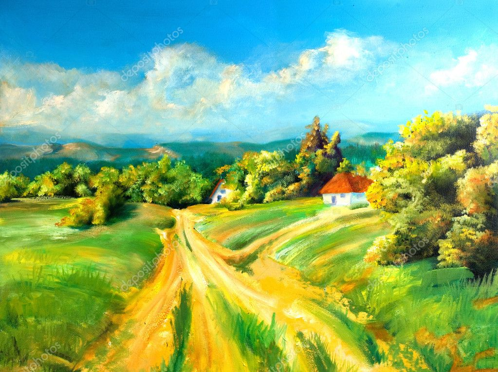 Summer scene of landscapes, this is oil painting and I am author of this image — Stock Photo #2344635