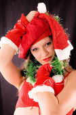 Portrait Santa Girl — Stock Photo