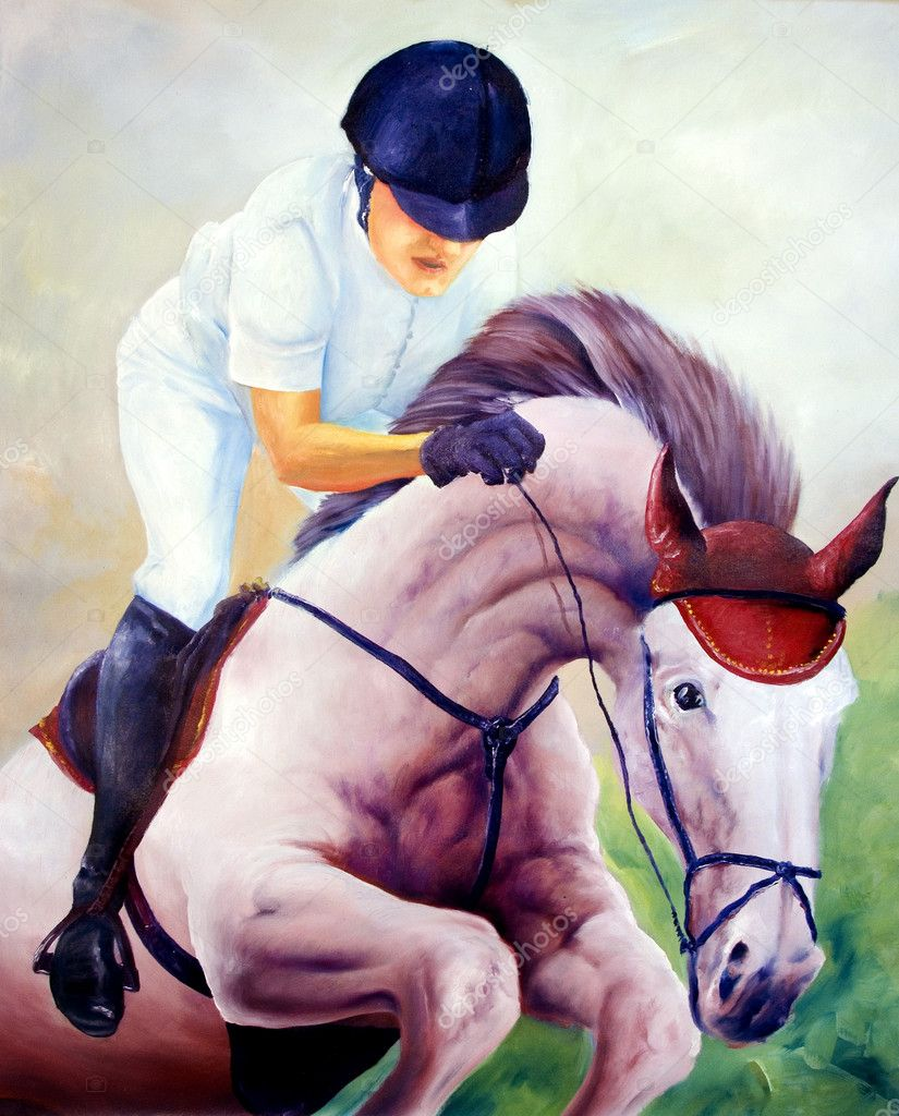 Jockey oil painting - I am author of this image, person is not exist  Stock Photo #2367434