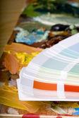 Farbkarte und künstlerischen malen — Stockfoto
