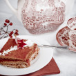 Raspberry cake and tea — Stock Photo