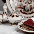 Stock Photo: Raspberry cake and tea
