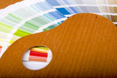 Painting palette and color chart — Stock Photo