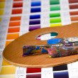 Artistic equipment and color chart - Foto Stock