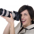 Woman with a camera — Stock Photo