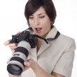 Stock Photo: Womwith camera