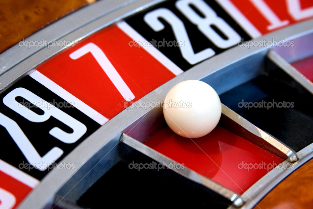 Roulette wheel with ball on 7  Stock Photo #2013405