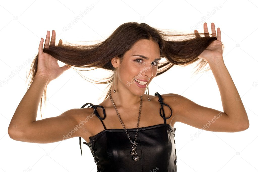 Girl holding up beautiful hair — Stock Photo #2019947