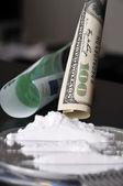 Cocaine and money — Stock Photo