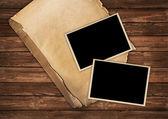 Vintage oud papier en foto frames — Stockfoto