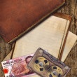 Stock Photo: Vintage old paper and book on wood