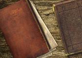 Vintage old books on wood — Stock Photo