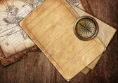 Vintage old map and papers — Stock Photo