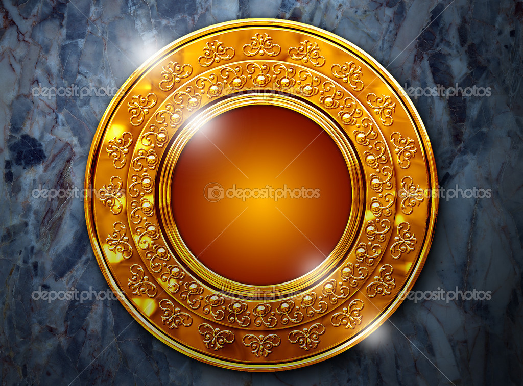 Gold frame with a round ornament — Stock Photo #2136350