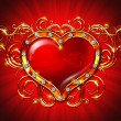 Golden galmur heart Valentine&#039;s Day - Stock Photo