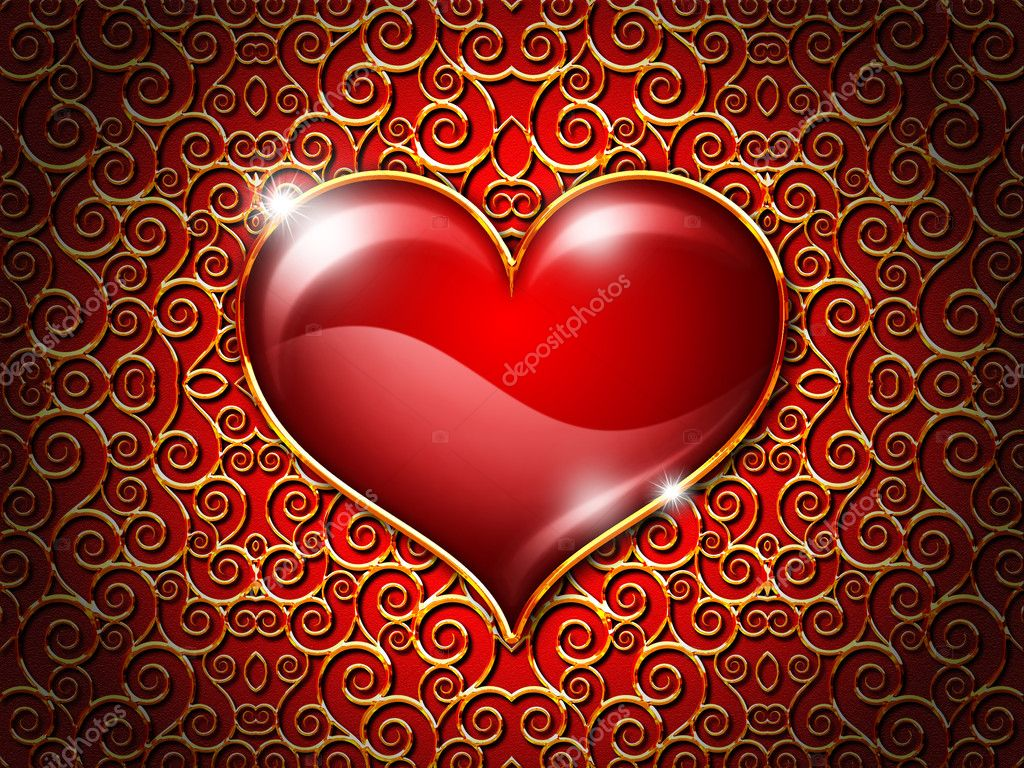 Heart on a red background with a gold ornament  Stock Photo #2333878