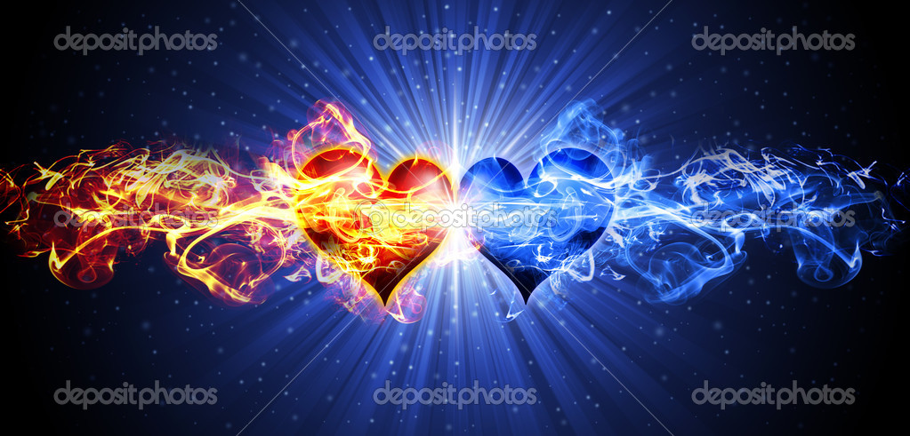 Two burning hearts — Stock Photo #2333897